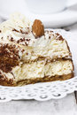 Tiramisu cake on white plate Stock Photo