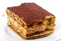 Tiramisu on white italian layered dessert consisting of the following ingredients mascarpone cheese coffee usually espresso eggs Royalty Free Stock Image