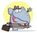 Tirante grigio di affari dell'elefante in un cappello ed in un vestito Fotografia Stock Libera da Diritti