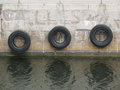 Tire boat bumpers Royalty Free Stock Photo