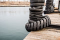 Tire Bumpers on a Boat Dock Royalty Free Stock Photo