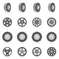 Tire icon set car auto montage service black silhouette icons isolated vector illustration Royalty Free Stock Photos