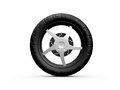 Tire of motorcycle single black isolated on white background Stock Image