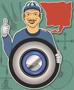 Tire service illustration of a mechanic with cartoon balloon Royalty Free Stock Photos