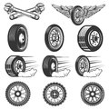 Tire service. Set of car tires illustrations isolated on white b Royalty Free Stock Photo