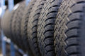 Tire stack background. Royalty Free Stock Photo