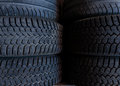Tire stack background.  Selective focus Royalty Free Stock Photo