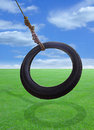 Tire swing a swings freely in a sunny field Royalty Free Stock Photo