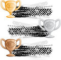 Tire track banners with cups Royalty Free Stock Photography