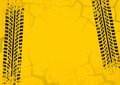 Tire tracks background with cracked and grunge effect. Black on yellow background. Vector