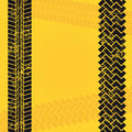Tire tracks over yellow background vector illustration Stock Photos