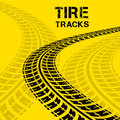 Tire tracks vector illustration on yellow background Stock Photography