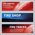 Tire tread tracks banners. Motorcycle, car and race bike dirty grunge road tire prints. Tread automobile, motor sport