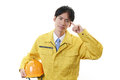 Tired asian construction worker on white back ground Royalty Free Stock Images