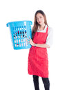 Tired beautiful woman holding clothes basket Royalty Free Stock Photo