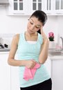 Tired beautiful women after cleaning the house girl kitchen headache Royalty Free Stock Photos