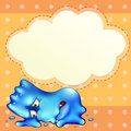 A tired blue monster below the empty cloud template illustration of Stock Images