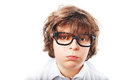 Tired boy with glasses Royalty Free Stock Photo