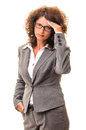 Tired business woman with problems headache stress hand on head isolated on white Stock Photos