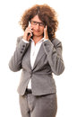 Tired business woman talk on smartphone phone headache hand head isolated white background Royalty Free Stock Photos