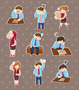 Tired businessman stickers Royalty Free Stock Photo