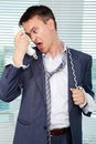Tired from calls Stock Images