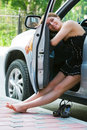 Woman resting in a car Royalty Free Stock Photo