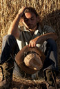 Tired Farmer Stock Photography