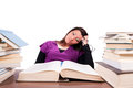 Tired female student have problems learning isolated white selective focus female Stock Photo