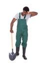 Tired Gardener With Shovel Royalty Free Stock Photo
