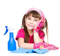 Tired girl with equipment for cleaning the house. isolated on white Royalty Free Stock Photo