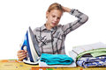 Tired girl with washed linen around ironing board and iron isola Royalty Free Stock Photo