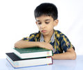 Tired Indian School Boy Stock Photo