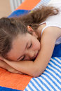 Tired little girl sleeping Stock Photos