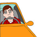 Tired Man Sitting in Traffic Royalty Free Stock Photo