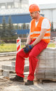 Tired physical labourer Royalty Free Stock Photo