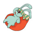 Tired rabbit with a blindfold resting in an easy chair. Vector illustration, isolated on white.