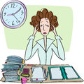 Tired sad woman in office at the desk with papers under the clock Royalty Free Stock Image