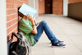 Tired school student Royalty Free Stock Photo