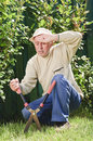 Tired senior man in garden Royalty Free Stock Photography