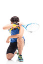 Tired sports man with tennis racket Royalty Free Stock Photo