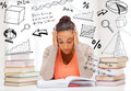 Tired student with books and notes education college concept pile of studying indoors Royalty Free Stock Photo