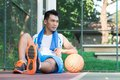 Tired of training image a sweating basketball player sitting in the park Royalty Free Stock Photography