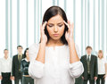 Tired and upset business woman in stress  on white Stock Image