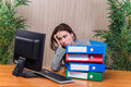The tired woman stressed with too much work Royalty Free Stock Photo