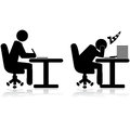 Tired worker illustration icons showing an office writing and another one and sleeping Royalty Free Stock Photos