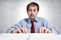 Tired worker typing keyboard selective focus man head Stock Photography