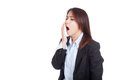 Tired young asian businesswoman yawn isolated on white background Stock Photography