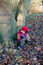 Tired Young boy on a forest walk Royalty Free Stock Photo
