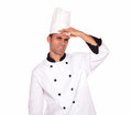 Tired young male cook standing with headache Royalty Free Stock Photo